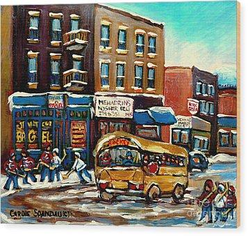 St. Viateur Bagel With Hockey Bus  Wood Print by Carole Spandau
