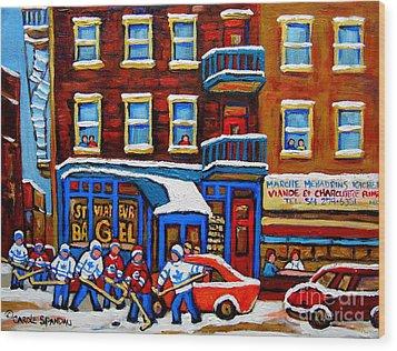 St Viateur Bagel With Hockey Montreal Winter Street Scene Wood Print by Carole Spandau