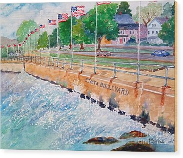 Stacey Boulevard,gloucester, Ma Wood Print by Kathryn G Roberts