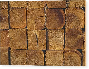 Stack Of Logs Wood Print by David Chapman