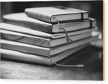 Stack Of Notebooks Wood Print by FOTOGRAFIE melaniejoos