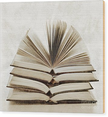 Stack Of Open Books Wood Print by Elena Elisseeva