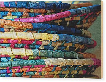 Stacked Baskets Wood Print by Gwyn Newcombe