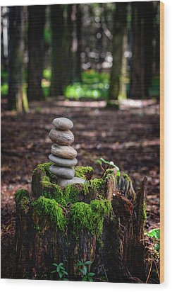 Wood Print featuring the photograph Stacked Stones And Fairy Tales IIi by Marco Oliveira