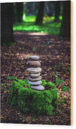 Wood Print featuring the photograph Stacked Stones And Fairy Tales Iv by Marco Oliveira
