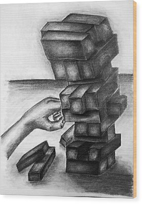 Stacked Up Wood Print by Tracy Glantz