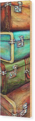 Stacked Vintage Luggage Wood Print by Winona Steunenberg