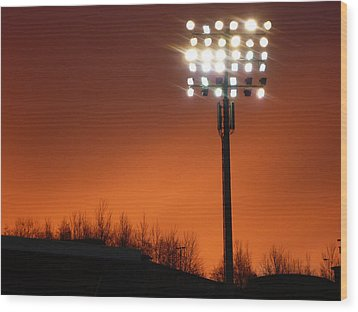 Stadium Lights Wood Print by RKAB Works