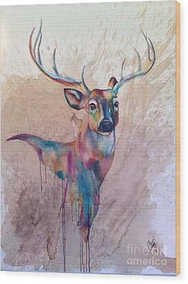 Wood Print featuring the painting Stag Spirit by Christy  Freeman