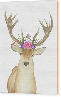 Wood Print featuring the painting Stag Watercolor  by Taylan Apukovska