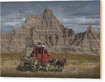 Stage Coach In The Badlands Wood Print by Randall Nyhof