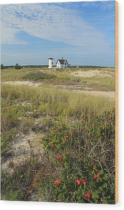 Stage Harbor Lighthouse Cape Cod Wood Print by John Burk