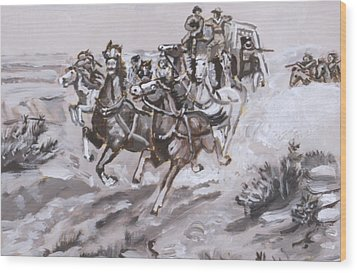 Stagecoach Attacked Historical Vignette Wood Print by Dawn Senior-Trask
