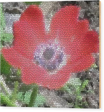 Wood Print featuring the photograph Stain Glass Anemone by Debra     Vatalaro