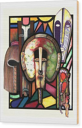 Stain Glass Wood Print by Anthony Burks Sr