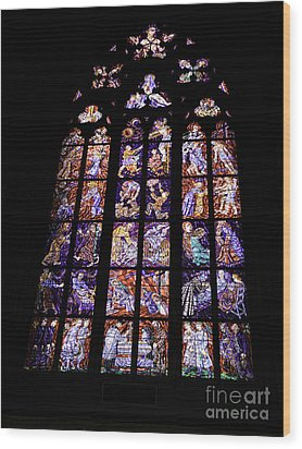 Stain Glass Window Wood Print by Madeline Ellis