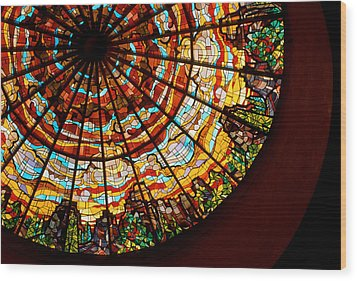 Stained Glass Ceiling Wood Print by Jerry McElroy