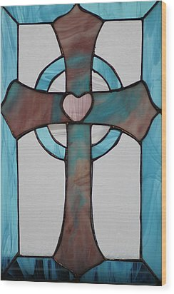 Stained Glass Cross Wood Print by Ralph Hecht