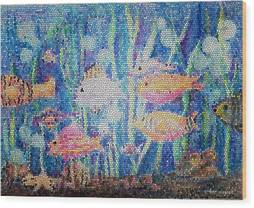 Stained Glass Fish Wood Print by Arline Wagner