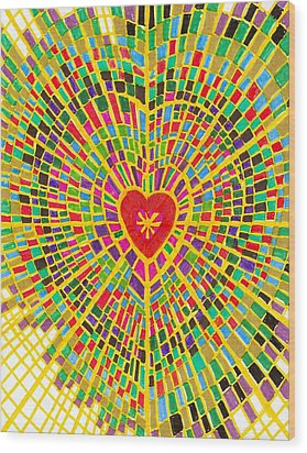 Stained Glass Heart Wood Print by Brenda Adams