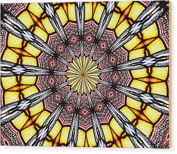 Wood Print featuring the photograph Stained Glass Kaleidoscope 23 by Rose Santuci-Sofranko