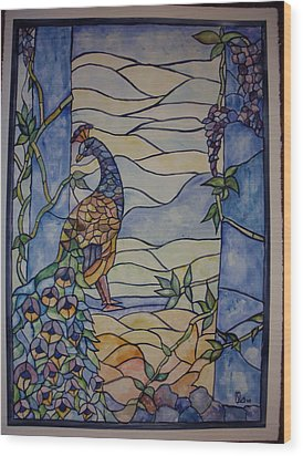 Stained Glass Peacock Wood Print