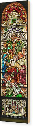 Wood Print featuring the photograph Stained Glass Scene 1 - 3 by Adam Jewell