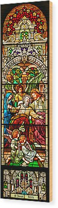 Wood Print featuring the photograph Stained Glass Scene 1 - 4 by Adam Jewell