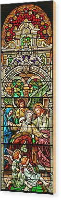 Wood Print featuring the photograph Stained Glass Scene 1 Crop by Adam Jewell