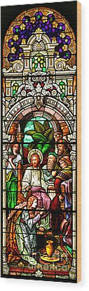 Wood Print featuring the photograph Stained Glass Scene 11 Crop by Adam Jewell