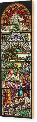 Wood Print featuring the photograph Stained Glass Scene 12 by Adam Jewell