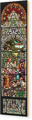 Wood Print featuring the photograph Stained Glass Scene 12 Crop by Adam Jewell