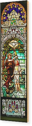 Wood Print featuring the photograph Stained Glass Scene 2 by Adam Jewell