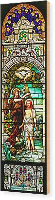 Wood Print featuring the photograph Stained Glass Scene 2 Crop by Adam Jewell