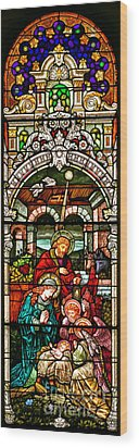Wood Print featuring the photograph Stained Glass Scene 4 - 2 by Adam Jewell