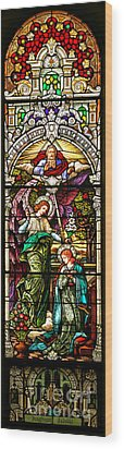 Wood Print featuring the photograph Stained Glass Scene 5 Crop by Adam Jewell