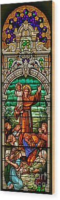 Wood Print featuring the photograph Stained Glass Scene 6 Crop by Adam Jewell
