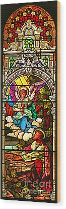 Wood Print featuring the photograph Stained Glass Scene 7 Crop by Adam Jewell