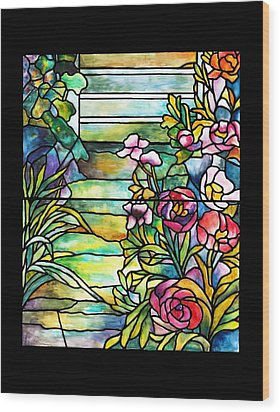 Stained Glass Tiffany Robert Mellon House Wood Print by Donna Walsh
