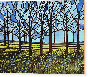Stained Glass Trees Wood Print by Elizabeth Robinette Tyndall