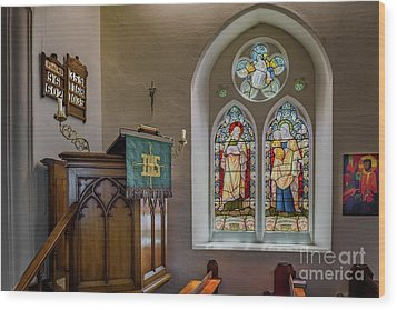 Wood Print featuring the photograph Stained Glass Uk by Adrian Evans