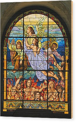 Wood Print featuring the photograph Stained Glass Window by Elizabeth Budd