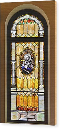 Wood Print featuring the photograph Stained Glass Window Father Antonio Ubach by Christine Till