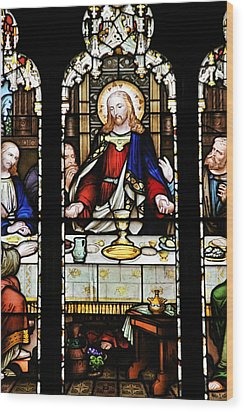 Stained Glass Window Last Supper Saint Giles Cathedral Edinburgh Scotland Wood Print by Christine Till