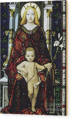 Stained Glass Window Of The Madonna And Child Wood Print by Sami Sarkis