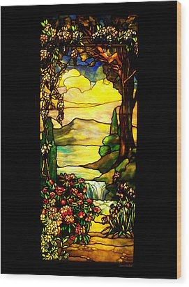 Stained Landscape Wood Print by Donna Blackhall
