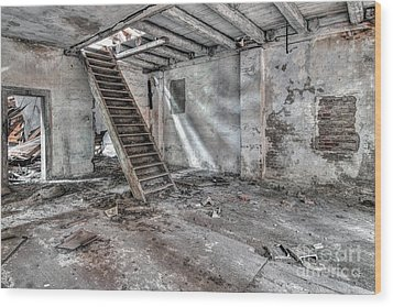 Wood Print featuring the photograph Stair In Old Abandoned  Building by Michal Boubin