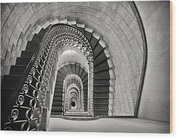 Staircase Perspective Wood Print by George Oze