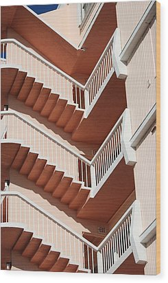 Stairs And Rails Wood Print by Rob Hans