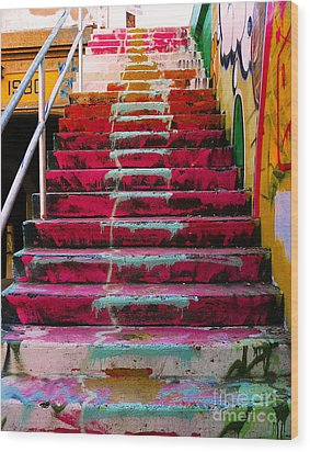 Stairs Wood Print by Angela Wright